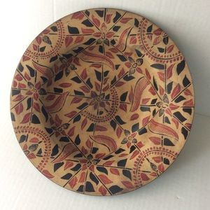 Indonesian Patterned Red Tan Decorative Bowl GUC